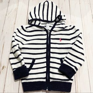 RALPH LAUREN White and Blue Zip Up Knit Sweater
